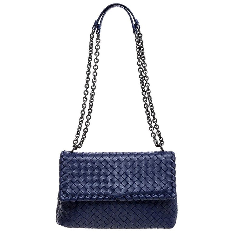Bottega Veneta Blue Intrecciato Leather Small Olimpia Shoulder Bag For Sale