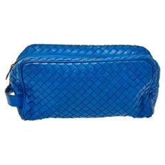 Bottega Veneta Blue Intrecciato Leather Toilerty Pouch