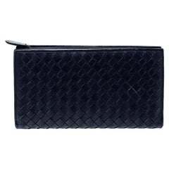 Bottega Veneta Blue Intrecciato Leather Trifold Continental Wallet