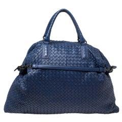 Bottega Veneta Blue Intrecciato Nappa Leather Maxi Convertible Tote