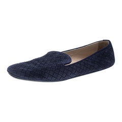 Bottega Veneta Blue Intrecciato Suede Smoking Slippers Size 38.5