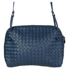 BOTTEGA VENETA blue leather INTRECCIATO NODINI Crossbody Shoulder Bag
