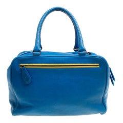Bottega Veneta Blue Leather Madras Heritage Brera Bowler Bag