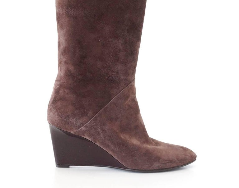 Women's Bottega Veneta Boot Suede Knee High Patent Wedge 39/ 9  For Sale