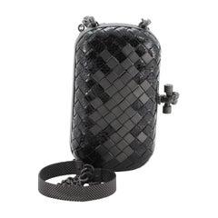 Bottega Veneta Box Knot Clutch Intrecciato Snakeskin with Metal Detail Small