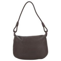 Bottega Veneta Braided Handle Flap Bag Leather Small