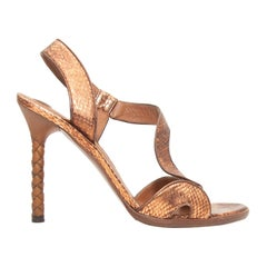 Bottega Veneta Bronze Embossed Leather & Intrecciato Sandals