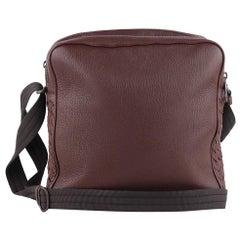 Bottega Veneta Brown Grained Leather Messenger Crossbody Bag