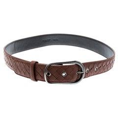Bottega Veneta Brown Intrecciato Leather Belt 85CM