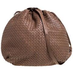 Bottega Veneta Brown Intrecciato Leather Drawstring Hobo