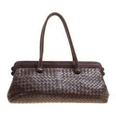 Bottega Veneta Brown Intrecciato Leather Frame Satchel