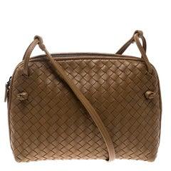 Bottega Veneta Brown Intrecciato Leather Nodini Shoulder Bag
