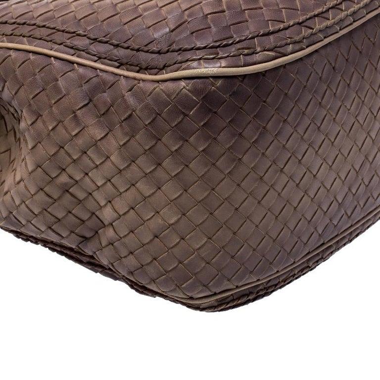 Bottega Veneta Brown Intrecciato Leather Satchel For Sale 6