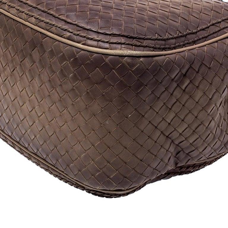 Bottega Veneta Brown Intrecciato Leather Satchel For Sale 7
