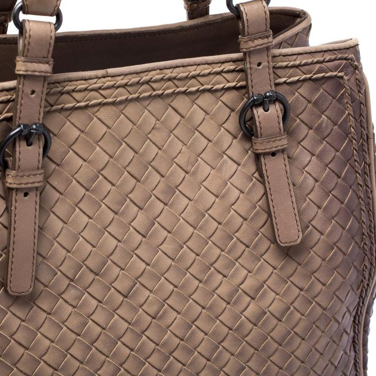 Bottega Veneta Brown Intrecciato Leather Satchel For Sale 8