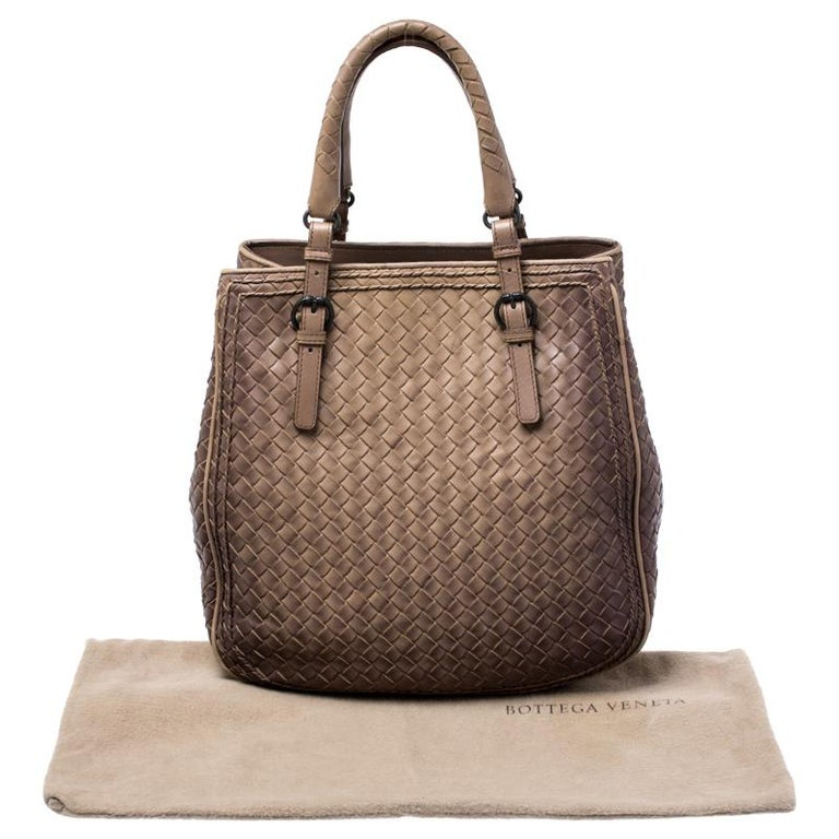 Bottega Veneta Brown Intrecciato Leather Satchel For Sale 9