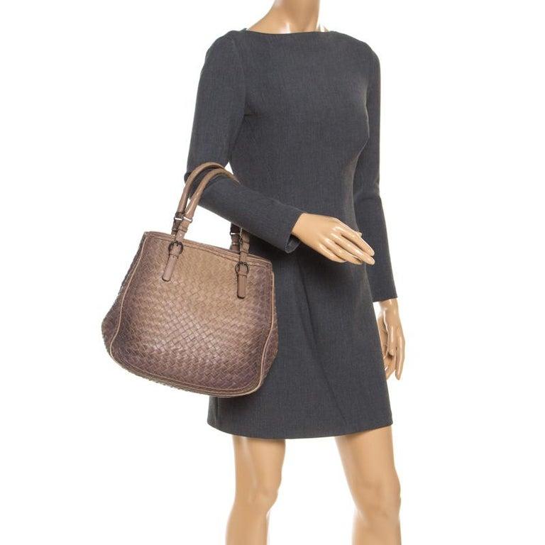 Bottega Veneta Brown Intrecciato Leather Satchel In Good Condition For Sale In Dubai, Al Qouz 2