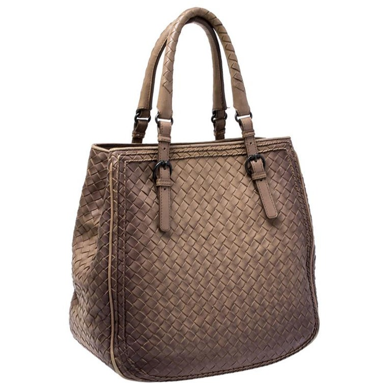 Women's Bottega Veneta Brown Intrecciato Leather Satchel For Sale