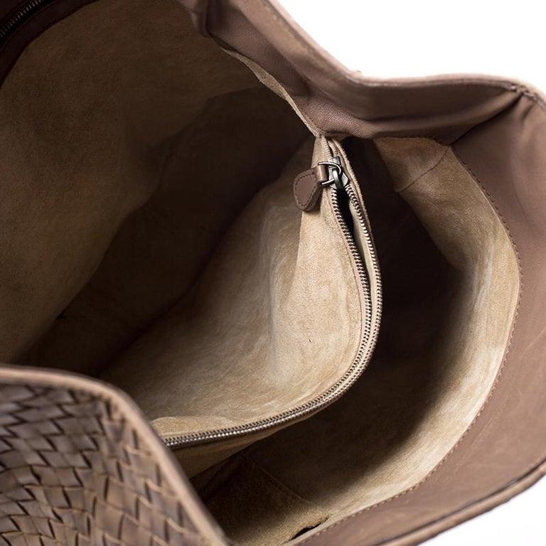 Bottega Veneta Brown Intrecciato Leather Satchel For Sale 4