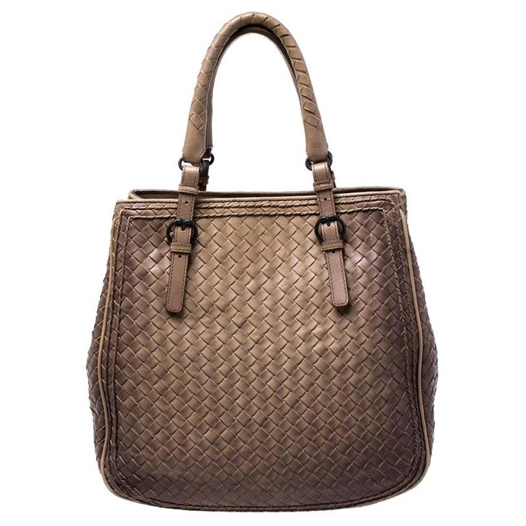 Bottega Veneta Brown Intrecciato Leather Satchel For Sale