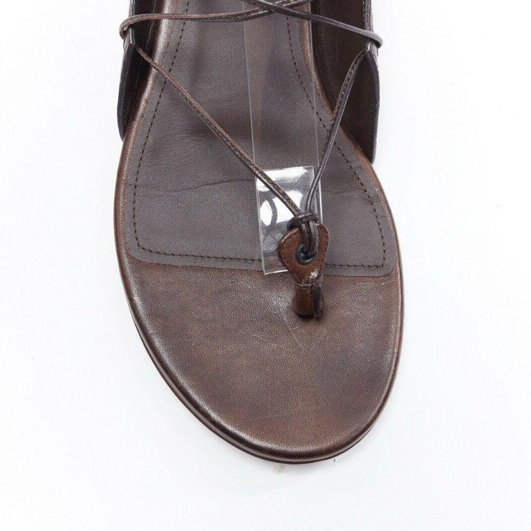 BOTTEGA VENETA brown intrecciato woven leather lace up thong flat sandals EU37 For Sale 3