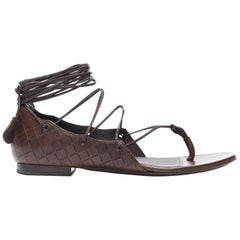 BOTTEGA VENETA brown intrecciato woven leather lace up thong flat sandals EU37