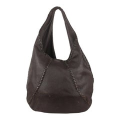 Bottega Veneta Brown Leather Baseball Hobo Shoulder Bag