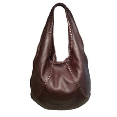 Bottega Veneta Brown Leather Braided Trim Hobo Shoulder Bag