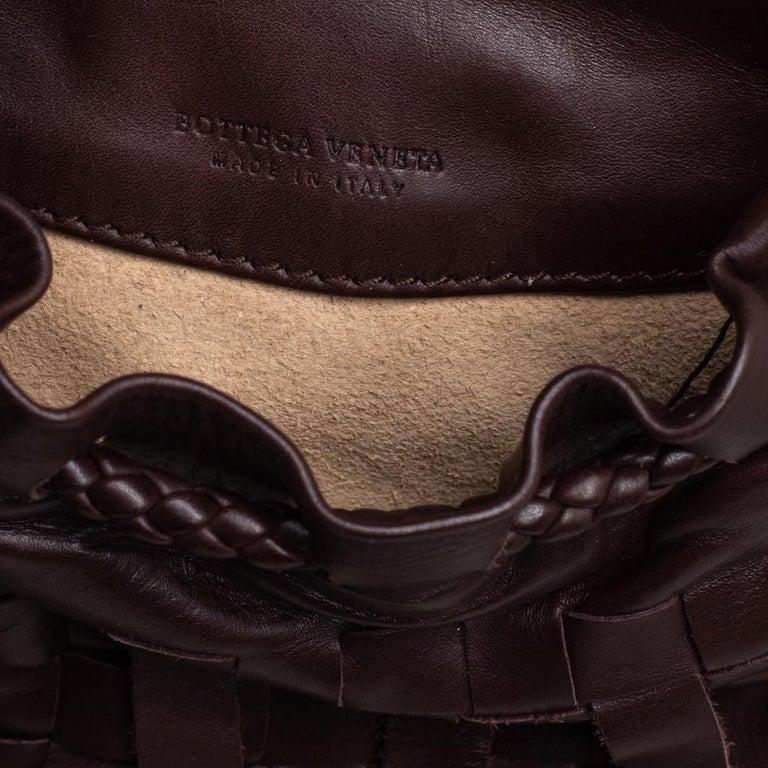 Bottega Veneta Brown Leather Fringe Small Pouch For Sale 6