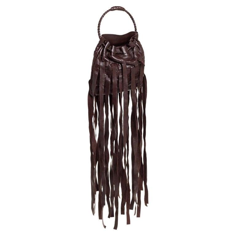 Bottega Veneta Brown Leather Fringe Small Pouch In Good Condition For Sale In Dubai, Al Qouz 2