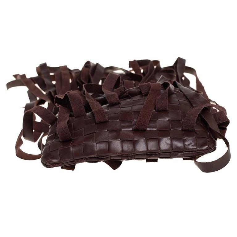 Women's Bottega Veneta Brown Leather Fringe Small Pouch For Sale