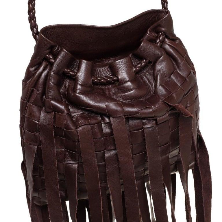Bottega Veneta Brown Leather Fringe Small Pouch For Sale 1