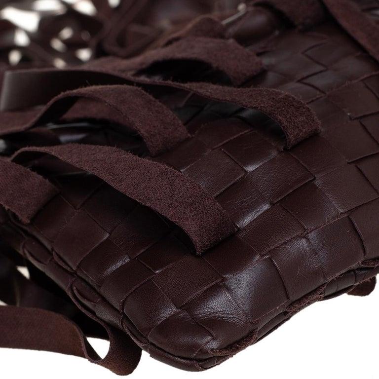 Bottega Veneta Brown Leather Fringe Small Pouch For Sale 3