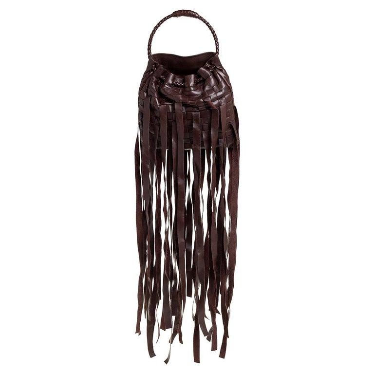 Bottega Veneta Brown Leather Fringe Small Pouch For Sale