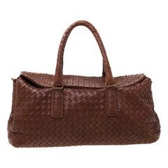 Bottega Veneta Brown Leather Intrecciato Montaigne Satchel