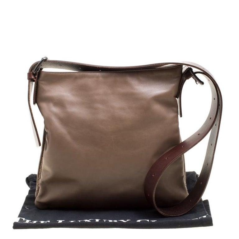 Bottega Veneta Brown Leather Messenger Bag For Sale 6