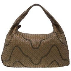 Bottega Veneta Brown Nappa Leather Intrecciato Large Chain Veneta Hobo