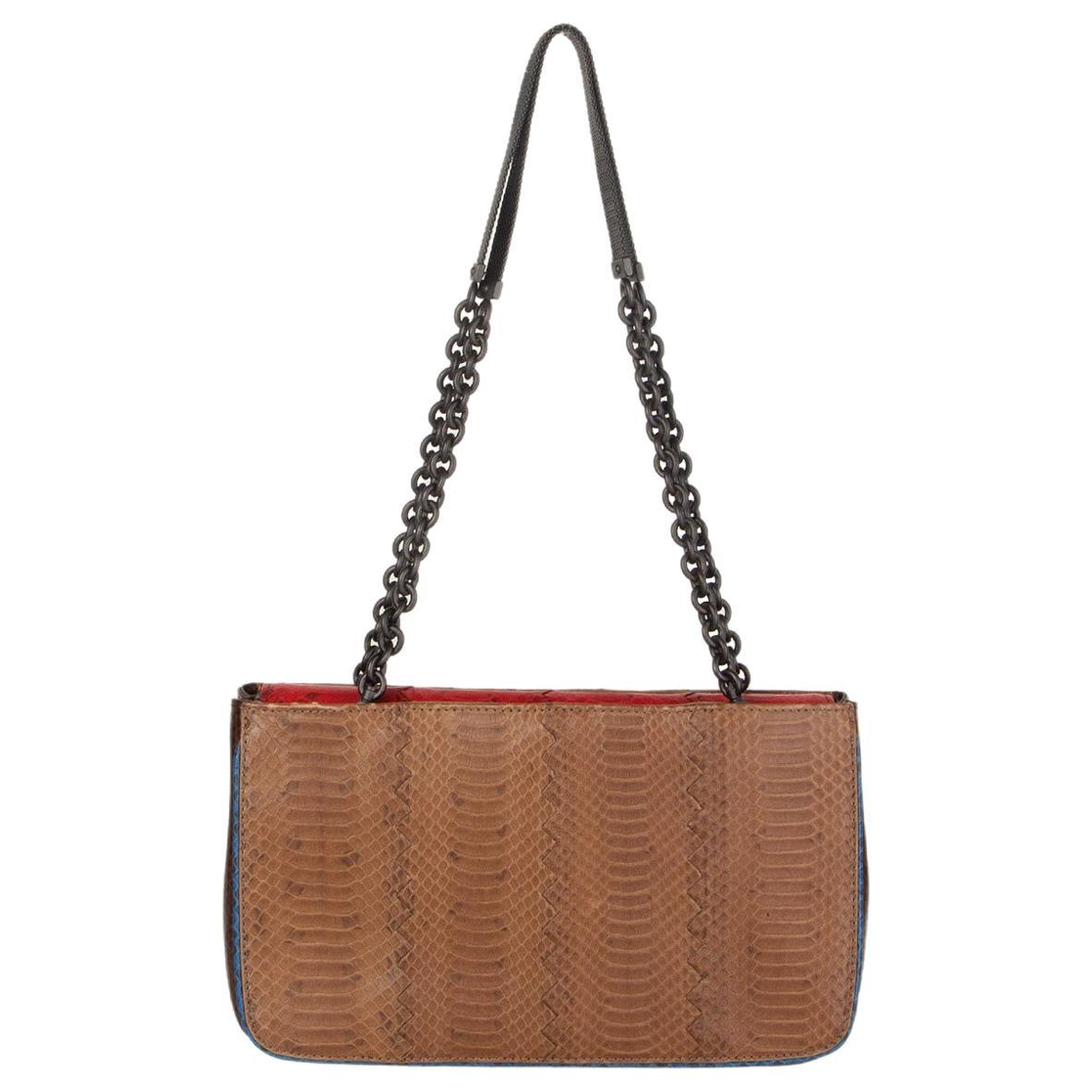 BOTTEGA VENETA brown red blue TRI COLOR AYERS Shoulder Bag