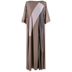Bottega Veneta Brown Sheer Draped Oversize Maxi Dress 40