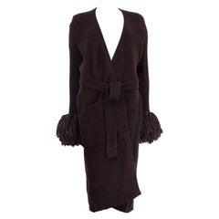 BOTTEGA VENETA brown wool FRINGED CUFF BELTED LONG Cardigan Sweater 42 M