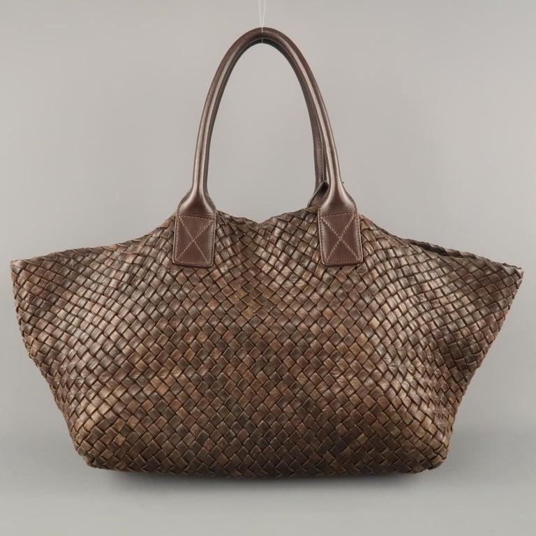 10d7a6cfbb HomeFashionHandbags and PursesShoulder Bags. BOTTEGA VENETA Brown Woven  Intrecciato Leather Tote Handbag For Sale
