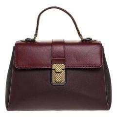 Bottega Veneta Burgundy/Black Leather Piazza Top Handle Bag