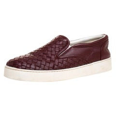Bottega Veneta Burgundy Intrecciato Leather Dodger Slip On Sneakers Size 38
