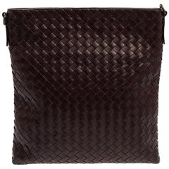 Bottega Veneta Burgundy Intrecciato Leather Messenger Bag