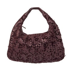 BOTTEGA VENETA burgundy INTRECCIATO VLOURS VENETA LARGE Hobo Shoulder Bag