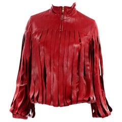 Bottega Veneta Burgundy Leather Jacket With Fringe Panels