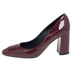 Bottega Veneta Burgundy Patent Leather Detail Block Heel Pumps Size 39