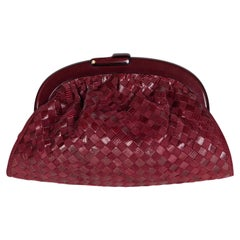 Bottega Veneta Burgundy Suede & Lizard Intrecciato Clutch Bag, 1980S