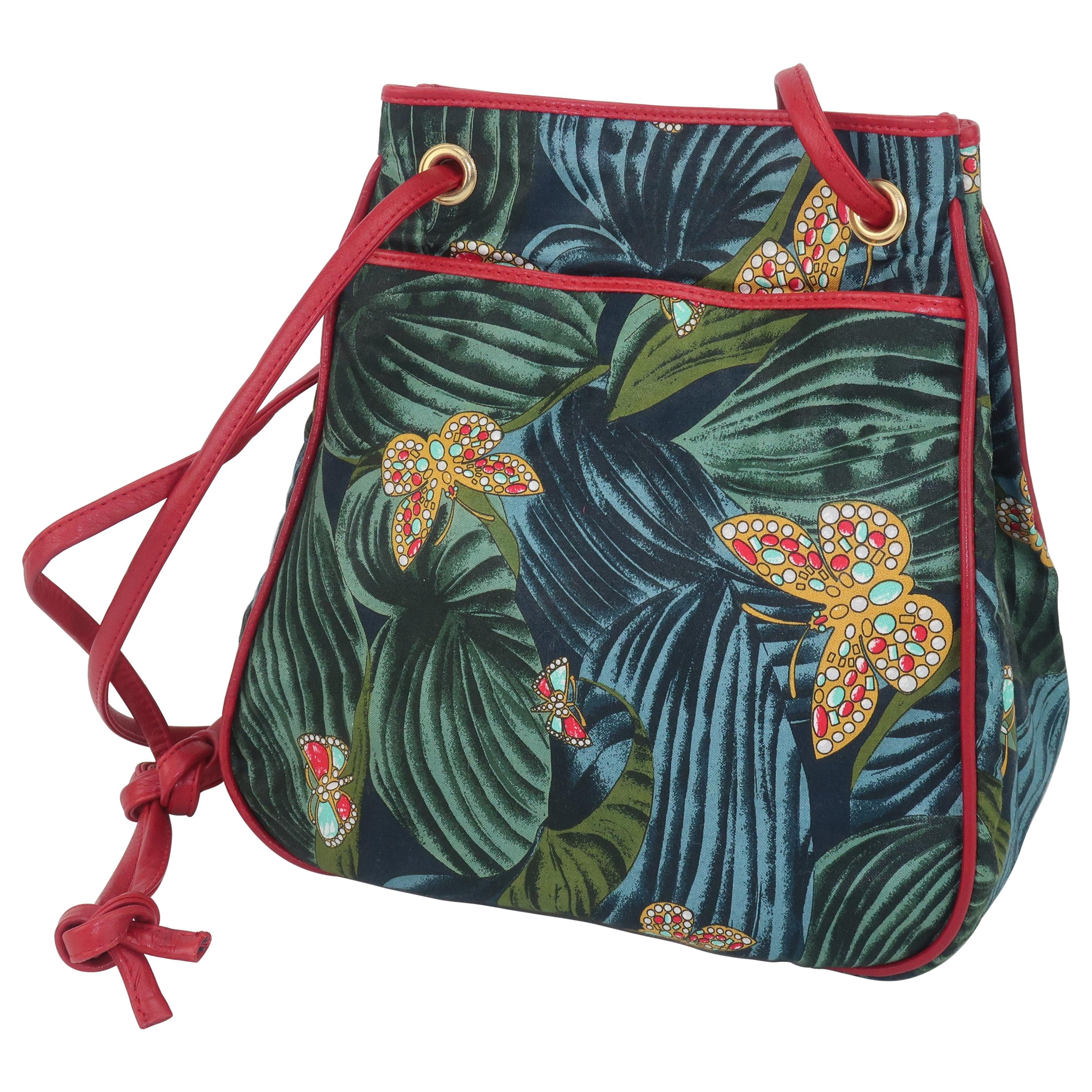 Bottega Veneta Butterfly Fabric & Red Leather Handbag, 1970's