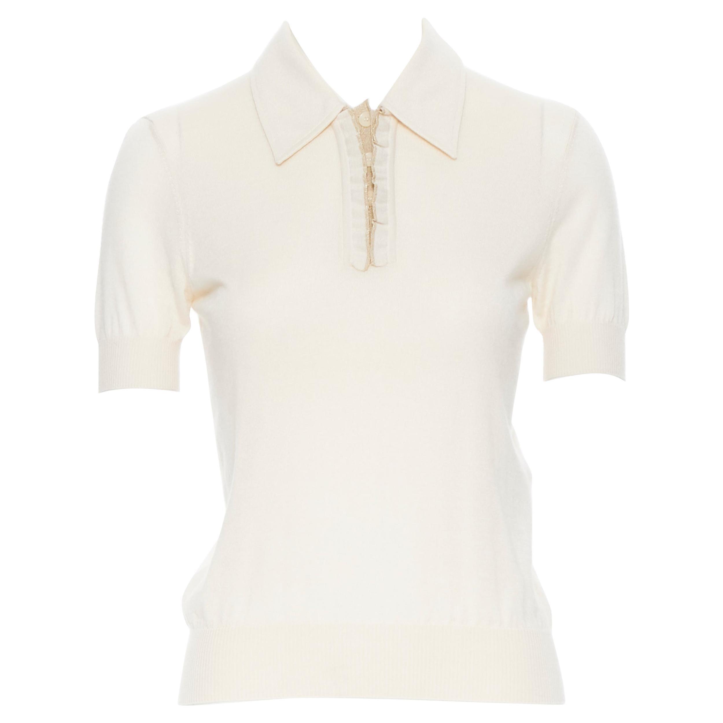 BOTTEGA VENETA cashmere silk beige gold lurex button polo sweater top IT38 XS